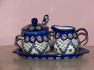 Polish Pottery Cream And Sugar 4 PC Set! Lace Peacock Pattern!