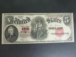 $5 1907 United States Note Legal Tender Woodchopper - Speelman/White AU/MINT!!!