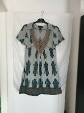 LADIES HEAVEN CAPPED SLEEVE DRESS TUNIC GREY FLORAL CROCHET DETAIL SIZE S/M