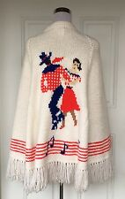 Vtg Handmade Mary Maxim Cowboy Square Dance Music Note Shawl Cape Sweater