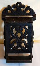 VINTAGE Match Stick Holder & Lid  Black  Metal  Hang near stove or fireplace