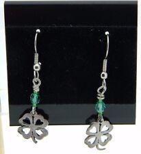 New Old Stock Sterling Silver Shamrock Green Crystal Bead Dangle Earrings