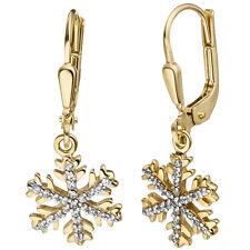 Damen Ohrhänger Schneeflocke 333 Gold Gelbgold Zirkonia Ohrringe Goldohrringe
