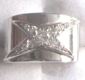 ISBN- RS-FIREC-M-CZ  Crystal Cross on Silver Plated Signet Ring £145.00