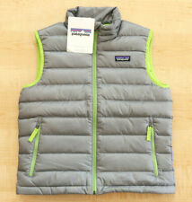 NEW PATAGONIA BOYS DOWN SWEATER VEST SZ.M 10! FEATHER GREY,HIKING,PUFFER,OUTDOOR