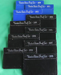 1970 - 1979 TEN Annual United States Mint Proof Sets 57 Coins Lot of 10 Complete