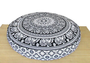 """Cushion Pillow Cover Pouf Meditation Cover Indian Cotton 35"""" Large Round Floor"""