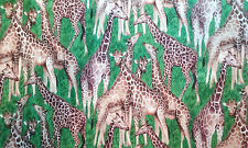 REALISTIC Grazing Giraffes on Cotton Fabric  BTY