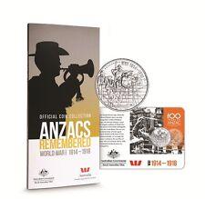 2015 20c/$1  ANZAC OFFICIAL COIN COLLECTION INC RARE $1 POPPY COIN UNC SET OF 15
