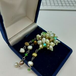 Vintage Cultured Pearl Cascade Brooch, White, Bronze, Green. 50s Inspired