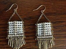 "SILPADA - KRW0027 - Glass Pearl Swarovski Crystal Brass ""Abacus"" Earrings - NIB!"