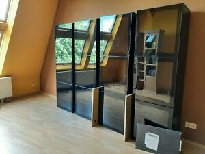 Schrank Vitrinenschrank Ikea Besta neuwertig unbenutzt schwarz 60 x 40 x 192 cm