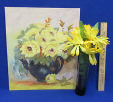 Oil Painting Yellow Flower Bouquet By RR Stonelake & Glass Vase & Flowers Lot 3