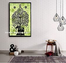 Tree of life Cotton Tapestry Indian Elephant Wall Hanging Throw Dorm Deco Poster