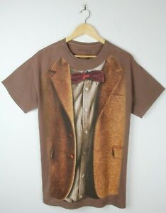 DOCTOR WHO Red Bow Tie Suit T Shirt - Sz M Brown Tee Unisex Tardis Dalek BBC