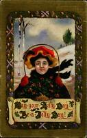 Christmas ~ Holly Day Jolly Day ~ girl holly basket ~ embossed ~ scroll ~ c1910