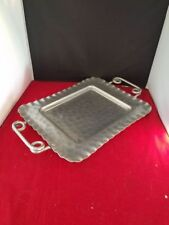 Vintage Large Aluminum Tray Hand Wrought Twisted Handles Cromwell 16x10""