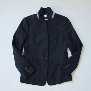 NWT J.Crew Regent Blazer in Navy Blue Wool Flannel Single Button Jacket 8P $228