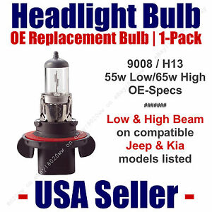 Headlight Bulb High/Low Beam OE Replacement Fits Listed Jeep & Kia Models - 9008