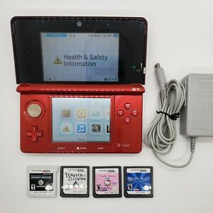 Nintendo 3DS RED w/ 4 GAMES and charger 9/10 condition