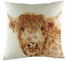 """EVANS LICHFIELD HIGHLAND COW REVERSIBLE LINEN MADE IN UK BROWN CUSHION COVER 17"""""""