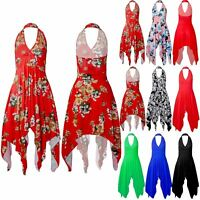 Women Ladies Floral Print Plunge Halter Neck Backless Hanky Hem Swing Midi Dress