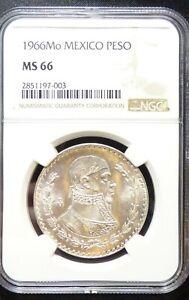 1966 Mo Peso NGC MS 66 Mexico Silver KM 459
