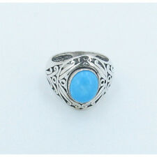925 Sterling Silver Natural Blue Sleeping Beauty Turquoise Ring Band Size 6