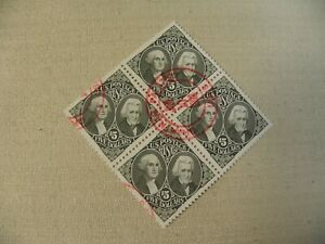 US Postage Stamp Scott # 2592 George Washington Andrew Jackson $5 Used Block 4
