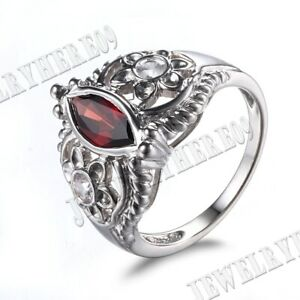 Vintage Silver Marquise 10X5mm Garnet Cubic Zirconia Engagement Wedding Ring New