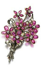 Antique Look.925 Silver 3.50ct Rosecut Diamond  Ruby Pin Brooch