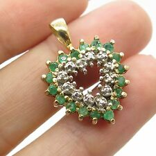 Signed 925 Sterling Silver Gold Plated Real Emerald Topaz Gemstone Heart Pendant