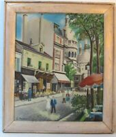 LISTED FRENCH G. PALAZO    PARISIAN STREET SCENE OIL PAINTING ON CANVAS