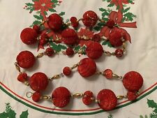 Vintage Christmas Honeycomb Ball Glass Beads Tree Garland Gold & Red