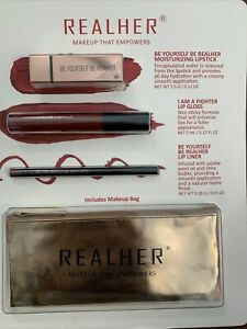 """REALHER Lipstick """"Makeup That Empowers"""" Kit in Deep Red + Makeup Bag - NewSealed"""