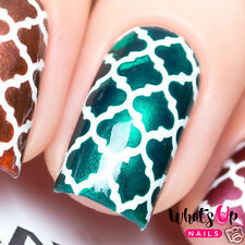 Moroccan stencils for nails, quatrefoil nail stickers, nail art, nail vinyls