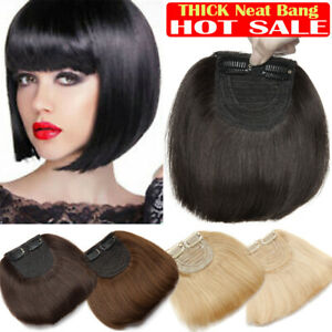 US SALE Clip in Thick Bangs Fringe Neat 100% Remy Human Hair Extension Top Piece