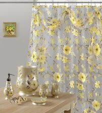 7 Piece Melrose Yellow Shower Curtain and Resin Accessory Set
