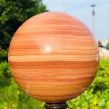 DQ273 Natural Wood Grain Stone Ball Sphere Quartz Crystal Ball Healing 4.4LB