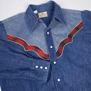 VTG 60s Dee Cee Mens Western Denim Shirt Pearl Snap Button Up Tartan Rockabilly