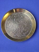 Small Brass Metal Round Pin Dish Etched Twin Flower Detail Made in India