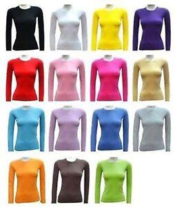 Ladies Long Sleeve Round Neck Cotton Top Tshirt Size XS - 2XL