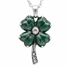Four Leaf Clover  Necklac w. Swarovski Crystals Luck Pendant Jewelry By Controse