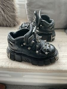 New Rock Gothic Real Black Leather Ankle Boot Metal Spikes Size 6 Uk.