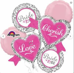 Anagram Hot Pink White Silver Bride to be 5 Balloon Bouquet Kit - Bridal Shower