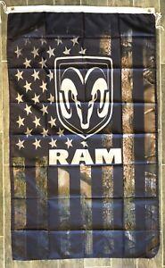 Dodge Ram USA Camo Banner 3x5 Ft Flag Garage Shop Wall Decor Ram 1500 2500 3500