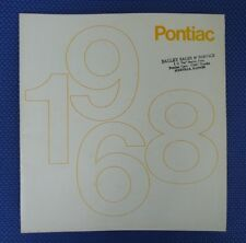 1968 PONTIAC Full Line PRESTIGE VERSION Automobile Sales Brochure - Includes GTO