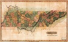 MAP ANTIQUE LUCAS 1826 TENNESSEE STATE OLD LARGE REPLICA POSTER PRINT PAM1040