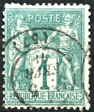 1876 SAGE N sous B  N° 61 1c. VERT  OB. CAD B COTE > 110 €