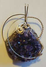 AMETHYST UNCUT STONE CHUNK WRAPPED IN BRASS WIRE ARTISAN HANDCRAFTED PENDANT